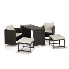Salon de jardin 5 éléments Marron - Tibau - Les chaises de jardin - Meubles de jardin - Tous les meubles - Décoration d'intérieur - Alinéa