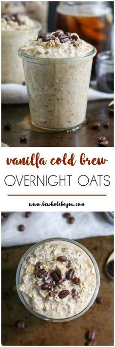Vanilla Cold Brew Overnight Oats Your cup of coffee doesn't have to be the only way you get your morning joe. These overnight oats combine your favorite breakfast drink with hearty oats. Not your average cold brew! What's For Breakfast, Perfect Breakfast, Mexican Breakfast, Breakfast Bowls, Breakfast Quotes, Breakfast Pizza, Breakfast Cookies, Brunch Recipes, Breakfast Recipes