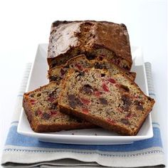 Christmas Banana Bread Recipe -This bread is a pretty addition to the table during the holidays. Cherries, walnuts and chocolate chips give fast festive flair to the loaf of moist banana bread. —Phyllis Schmalz, Kansas City, Kansas