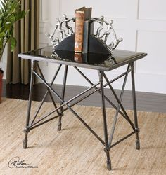 Collier Black Glass End Table