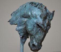 Bronze & Oak Field Sports, Game Birds and Game Animals sculpture by sculptor Edward Waites titled: 'Etruscan Horse (bronze Equine Head statuette/statues/figurine)' - Artwork View 2