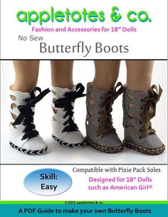 "BUTTERFLY BOOTS 18"" DOLL SHOES"