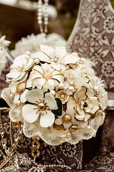 MC CREAMY EDEN - vintage wedding Brooch Bouquet with fresh water pearls and more cream and ivory Fabric Bouquet, Wedding Brooch Bouquets, Bride Bouquets, Flower Bouquets, Gold Wedding, Wedding Flowers, Dream Wedding, Wedding Dresses, Wedding Keepsakes