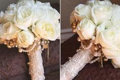 DIY wedding flower bouquet, love the look of the lace and fake pearls underneath it :) Must do!