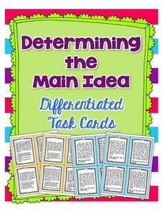 8 passafes and students determine the main idea. The practice is leveled so that one set of the reading passages has multiple choice answers and the other set of task cards are free response (students must decide on the main idea independently). Reading Lessons, Reading Strategies, Reading Skills, Teaching Reading, Guided Reading, Learning, Reading Task Cards, Shared Reading, Reading Centers