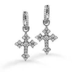 Cross CollectionThese striking 18K white earrings are comprised of 1.16ctw round white Diamonds.#PE115