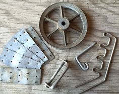 Metal Plates Vintage Pulley Misc Metal Parts for by HighDesertRust