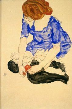 Egon Schiele - Woman in Blue Dress, Tying Her Garter, 1912