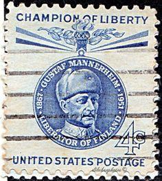 USA.  Champion of Liberty Issue.   Mannerheim (1867-1951), marshal and pres. of Finland.  Baron Gustaf Emil Mannerheim.  Scott 1165 A606, Issued  1960 Oct 26, Giori Press Printing,  Perf. .Perf. 10 1/2x11 1165,  4c. /ldb.