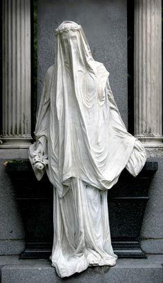 Beautiful veiled mausoleum statue