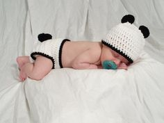 Panda Hat and Diaper Cover Set Newborn OR 3 to 6 months. $20.00, via Etsy.