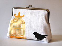 White hemp purse with bird and cage $50