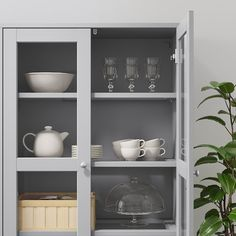 HAVSTA Glass-door cabinet with base, gray, clear glass - cm - IKEA Glass Cabinet Doors, Sliding Glass Door, Glass Doors, China Cabinet, Plastic Foil, Tempered Glass Shelves, Ikea Family, Tv Storage, Form Design