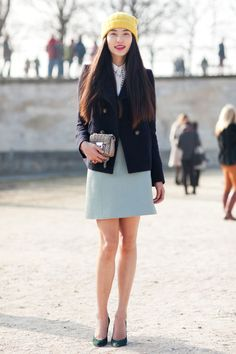 bonnie chen at chloe fw 13 paris fashion week by melodie jeng chinese next model - color - yellow hat blue skirt