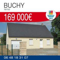 #HabitatConcept vous propose ce pavillon #RT2012 avec garage, comprenant 3 chambres, sur un terrain de 625m² à BUCHY (76750) pour 169 000€ TTC*