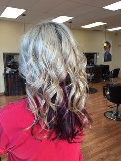 Platinum blonde with chocolate lowlights and burgundy ...