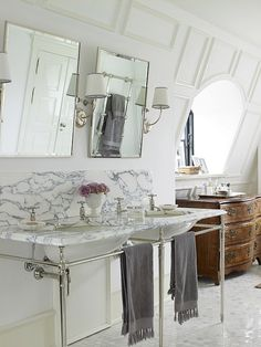 Drummonds Bathrooms - European Retreat, Denmark - Double Lowther Marble Vanity Basin - Solid Brass Tilt Mirror Pair
