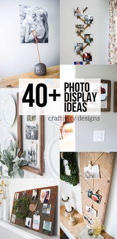 Photo Display Ideas, DIY Photo Display, Vintage Photo Display, Art Display by Diy Hanging Shelves, Diy Wall Shelves, Kitchen Decorating, Diy Foto, Idee Diy, Creative Photos, Creative Ideas, Mason Jar Diy, Vintage Design