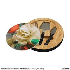 Beautiful Rose Floral Abstract Cheese Platter