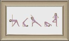 Yoga Cross Stitch Pattern PDF DMC Threads by KnitSewMake on Etsy