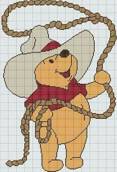 winnie the pooh knitting chart Disney Cross Stitch Patterns, Cross Stitch Charts, Cross Stitch Designs, Cowboy Crochet, Crochet Cross, Cross Stitching, Cross Stitch Embroidery, Winnie The Pooh, Cross Stitch Needles