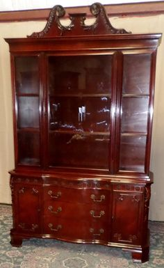 MAHOGANY CHINA CABINET Carved Details Serpentine, c.1940s VINTAGE in Antiques, Furniture, Cabinets & Cupboards | eBay