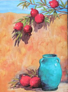"""Watercolor by Mahtab Tabibian, """"Love is going to stay"""" Vegetable Illustration, Photo Illustration, Illustrations, Love Is Gone, Mexican Art, Watercolor, Seasons, Pomegranates, Tins"""