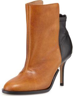 Maison Martin Margiela Bicolor Stretch-Back Ankle Boot, Caramel/Black on shopstyle.com