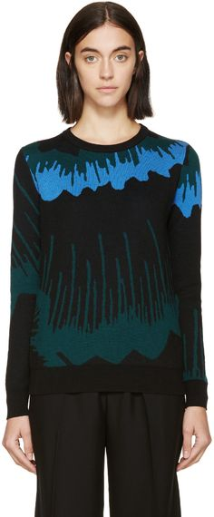 KENZO Blue & Green Shadow Flowers Sweater. #kenzo #cloth #sweater
