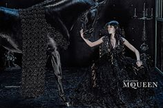 Alexander McQueen AW 2014 featuring Edie Campbell with beautiful horses by Steven Klein l #adcampaign