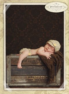 In Stock- Newborn Newsboy Beanie & Diaper Cover Set Photography Props- Olive…