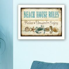 Natural Wood Trim, White Framed Art, House Rules, Paper Houses, Beach Themes, Framed Art Prints, Picture Frames, Beach House, Decorative Pillows