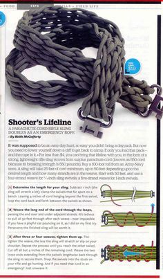 INSTRUCTIONS, Paracord rifle sling or camera strap