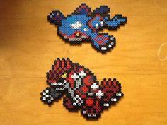 Kyogre and Groudon Pokemon perler artwork. Pieces made custom to order! Custom perler bead artwork, available to order from Eight Bit Customs: www.facebook.com/eightbitcustoms