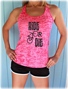 Ride or Die Workout Tank Top. Cute Womens Workout Clothing. Gym Motivation. Bicycle Shir https://seethis.co/n84gO/ #spinning #bikelife #fitlife #bikestagram