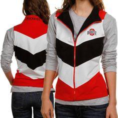 Ohio State Buckeyes Ladies Scarlet-White-Black Chevron Full Zip Vest #UltimateTailgate #Fanatics