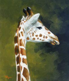Original oil painting - wildlife art - portrait of a giraffe - by UK artist j Payne