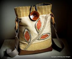 OOAK CROSSBODY HOBO Bag-Tablet Bag-Notebook Bag-Small Laptop Bag-Upcycled-Repurposed-Tangerine-Appliqued-Eco Friendly by WhimsyEyeDesigns on Etsy