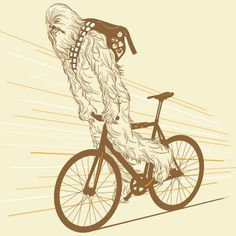 Chewbacca with his messenger bag has mad fixie skillz.Design available on this shirt. Chewbacca, Bici Fixed, Sketch Manga, Bike Messenger, Bike Illustration, Character Illustration, Bike Poster, Bicycle Art, Bicycle Sketch