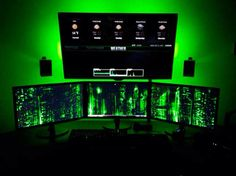Triple monitor with TV and super green lighting. Nice!