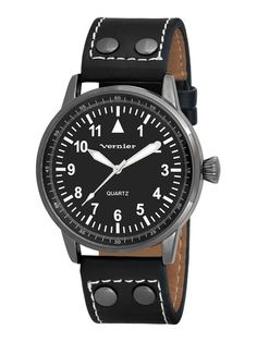 Vernier Watches Unisex Round Gunmetal & Black Leather Watch