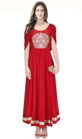 Red Color Embroidered Crepe Silk Gown #flaredgowns #plussizegownsindia Be the celebrity for the day dressed up in this red color embroidered crepe silk gown. The beautiful resham work through suit is awe-inspiring.  USD $ 257 (Around £ 177 & Euro 195)