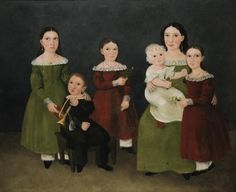 American School, 19th Century PORTRAIT OF SIX CHILDREN - sleeve shape marks this as being very early 1840's