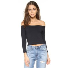 David Lerner Bardot Top (7,440 INR) ❤ liked on Polyvore featuring tops, classic black, 3/4 length sleeve tops, crop top, off the shoulder crop top, three quarter sleeve tops and 3/4 sleeve crop top