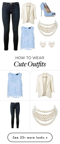"""CUTE WORK OUTFIT"" by bluetyphoon on Polyvore featuring Topshop, Frame Denim, Casadei, Tiffany & Co. and Christian Dior"