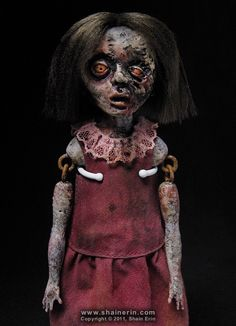 https://flic.kr/p/aizaSh | Lindsey - Zombie Art Doll | Lindsey - Zombie Art Doll   Please see my Profile Page for more information.  She is jointed at the shoulders and hips.  Handmade Art Doll. 7.75 inches tall. Mixed media.  Copyright © 2011, Shain Erin. All rights reserved.