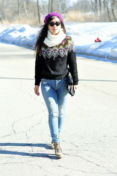 Favorite winter fair isle sweater combo with distressed jeans!