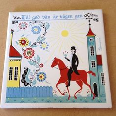 BERGGREN TRIVET tile trivet Swedish The Road to a Good Friend