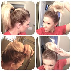 Bri's Buns How-to:  1- Pull you're hair into a high pony tail (I think it looks best if you're hair isn't in a perfect pony tail. Let there be some bumps and volume on your head)  2- Rat your pony tail a little bit to give it fullness  3- Wrap your pony tail around to the front, loosely, making sure the pony tail holder isn't showing anywhere in the back  4- Bobby pin where necessary