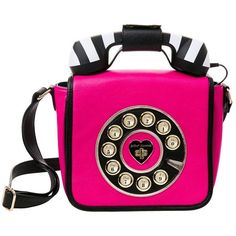 Betsey Johnson Kitsch Betseys Hotline Phone Crossbody (4,640 DOP) ❤ liked on Polyvore featuring bags, handbags, shoulder bags, fuchsia, pink crossbody purse, fuschia handbags, floral handbags, square purse and pink shoulder bag